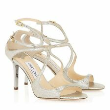 850$ Jimmy Choo Ivette Champagne Glitter Strappy Sandals Shoes Women