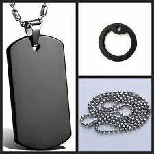 Fashion Army ID Dog Tag Necklace Military Chain Stainless Steel Silver Black new