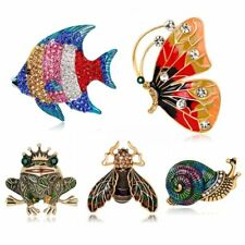 Vintage Butterfly Full Crystal Fish Brooch Pin Broach Womens Christmas Jewellery