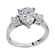 Sterling Silver Three Stone CZ Cubic Zirconia Bridal Wedding Engagement Ring