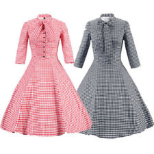 Womens Vintage Housewife Dress Retro Swing Dress Cocktail Party Rockabilly Dress