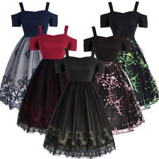 1950's Women Lace Retro Dress Swing Pinup Housewife Evening Party Vintage Dress
