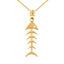 10k Yellow Gold Fish Bone Skeleton Fishing Pendant Necklace