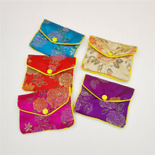 5pcs Brocade Pouches Snap Zipper Chinese Jewellery Packaging Bags 5 colors