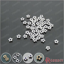 (18184)200PCS 4.5MM Silver Color Plated Zinc Alloy Flower Shape Spacer Beads ...