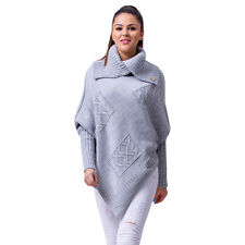 Women's Ladies Poncho Warm Knit Turtleneck Poncho Jumper Sweater Cape Winter