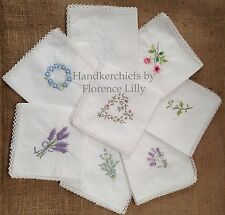 Pack of 3 Beautiful 100% Cotton Ladies Handkerchiefs with Fine Crochet Borders