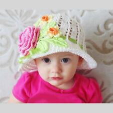 Cotton Sun Panama Cloche Hat Handmade Crochet White Baby Bonnet with Flowers