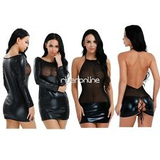 Sexy Womens Mesh Nightwear Lingerie Babydoll Patent Leather Clubwear Mini Dress