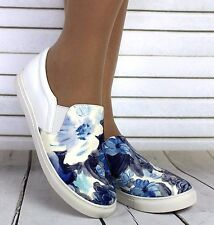 LADIES WHITE FLAT SLIP ON PLIMSOLLS SNEAKERS TRAINERS GIRLS SKATER SHOES PUMPS