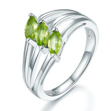 3-stone Natural Peridot Solid 925 Sterling Silver Ring Women August Birthstone