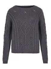 Yumi Women's Floral Print Grey Cable Knit Jumper with flower beading - RRP£55.00