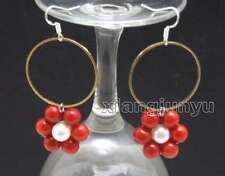 SALE Fashion white pearl and Red Coral & Gold-color metal Ring Earring-ear606