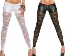 Women Sexy Pants Metallic Shorts Attached Sheer Mesh Lace Slim Stretch Leggings