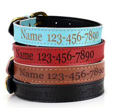 Personalised Leather Dog Cat Collar - Waterproof Custom Name Number Pet ID Info
