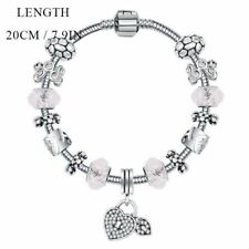 Women Link Chain Heart Shaped Beaded Decorated Charms Bracelet