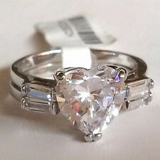 Silver Wedding Engagement Ring Set Rhodium Plated Heart Cubic Zirconia Size 8 9