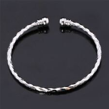 Women Fashion Silver Gold Color Simple Style Bangle Cuff Bracelet