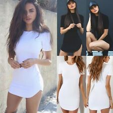 UK Womens Short Sleeve Casual Top T-shirt Ladies Bodycon Party Mini Dress Blouse