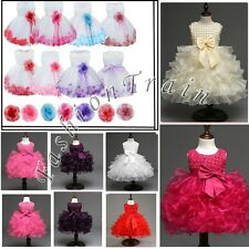 Baby Girl Kids Christening Baptism Flower Party Wedding Tulle Tutu Pageant Dress