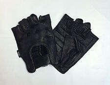 DEERSKIN Leather Perferated FINGERLESS Gloves Work Ride Motorcycle Driving Mens