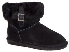 NEW BEARPAW ABBY BLACK, HICKORY, OR CHOCOLATE SUEDE SHEEPSKIN ANKLE BOOTS