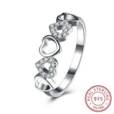 Women Pretty Five Hearts Zircon Pave Setting Decor Silver Round Ring
