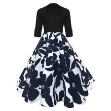 Vintage Women 50's Style Housewife Retro Swing Pinup Floral Evening Party Dress