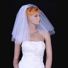 White/Black/Ivory 2 Layer Wedding Bridal Veil Short Cut Edge with pearls + Comb