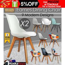 2 x Retro Replica Eames DSW Dining Chair DAW Armchair Foam Padded Fabric