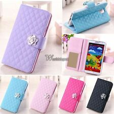 Luxury Grid Wallet Stand Flip Synthetic Leather Cover Case for Samsung WT8802