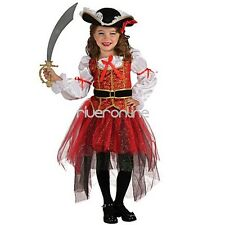 Kids Girl Carnival Halloween Pirate Costume Cosplay Party Fancy Dress Outfit+Hat