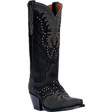 Dan Post Womens Black Studded Leather Invy 13in Snip Toe Cowboy Boots