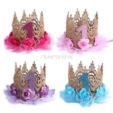 Kids Baby Lace Rose Flower Princess Crown Hairbands Birthday Party Headband New