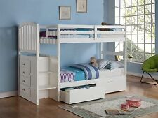Arch Mission Twin/Twin Stairway Bunk Bed with Built-In 4-Drawer Chest - White