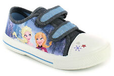 New Girls/Childrens Blue/White 'Frozen'Touch Fastening Pumps/Trainers. UK SIZES