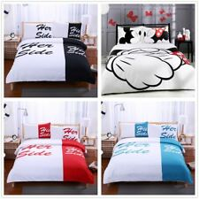His Side Her Side Duvet/Quilt Cover Couple LOVE Wedding Bedding Set Pillowcase