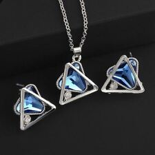 Women Fashion Triangle Crystal Geometric Earrings Necklace Jewelry Set