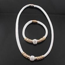 New Fashion Round Shape Fake Crystal Bracelet Necklace Jewelry Set for Women