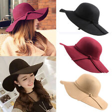 Vintage Women Lady Wool Felt Floppy Wide Brim Fedora Bowler Cloche Hat Cap CV