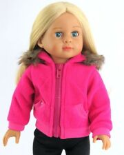 """Doll Clothes AG 18"""" Coat Hot Pink Hooded Fleece Made To Fit American Girl Dolls"""