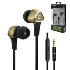 3.5mm Hands-Free Stereo Sport In-Ear Headphones Earphones Earbuds With Mic Gold