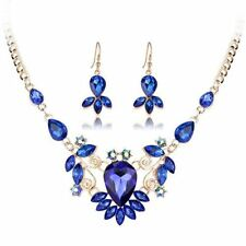 Women Colorful Crystal Gold Color Necklace Pendants Earring Jewelry Set