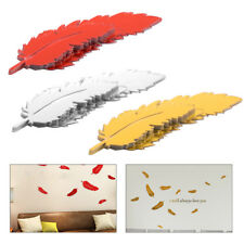 8pcs Mirror Style DIY Removable Decal Art Wall Stickers Home Room  Feather Decor