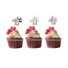 Funny Unicorn Cupcake Toppers Cake Muffin Food Picks Birthday Party Decorations