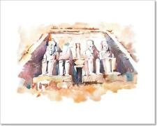 Abu Simbel Temples Watercolor Drawing, Egypt. The Great Temple Of Ramesses Ii...