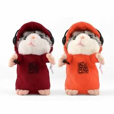 Cute Talking Music DJ Hamster Plush Sound Record Hamster With Mic Animal Toy UP