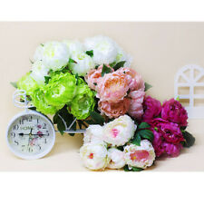Artificial Peony Silk Flowers 5-Heads Bouquet Wedding Party Home Decor 3 Colors