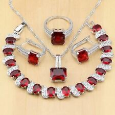 Women Red Color Stone Diamond Decorated Necklace Earring and Ring Set