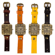 New Women's Leather Band Attractive Square Dial Analog Love Wrist Watch Quartz
